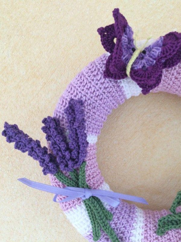 Türdeko häkeln - Türkranz Lavendel-Motiv | #beautiful #crochet ...