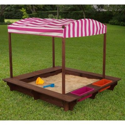 KidKraft Outdoor Play Cabana Kids Sandbox with Striped ...