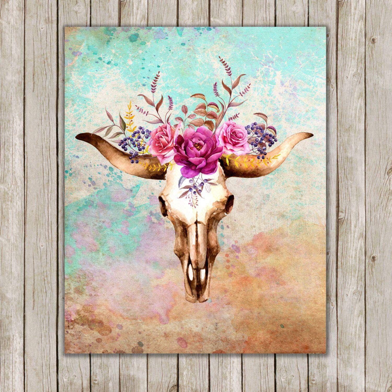 8x10 Watercolor Bull Skull Printable Art, Skull Poster