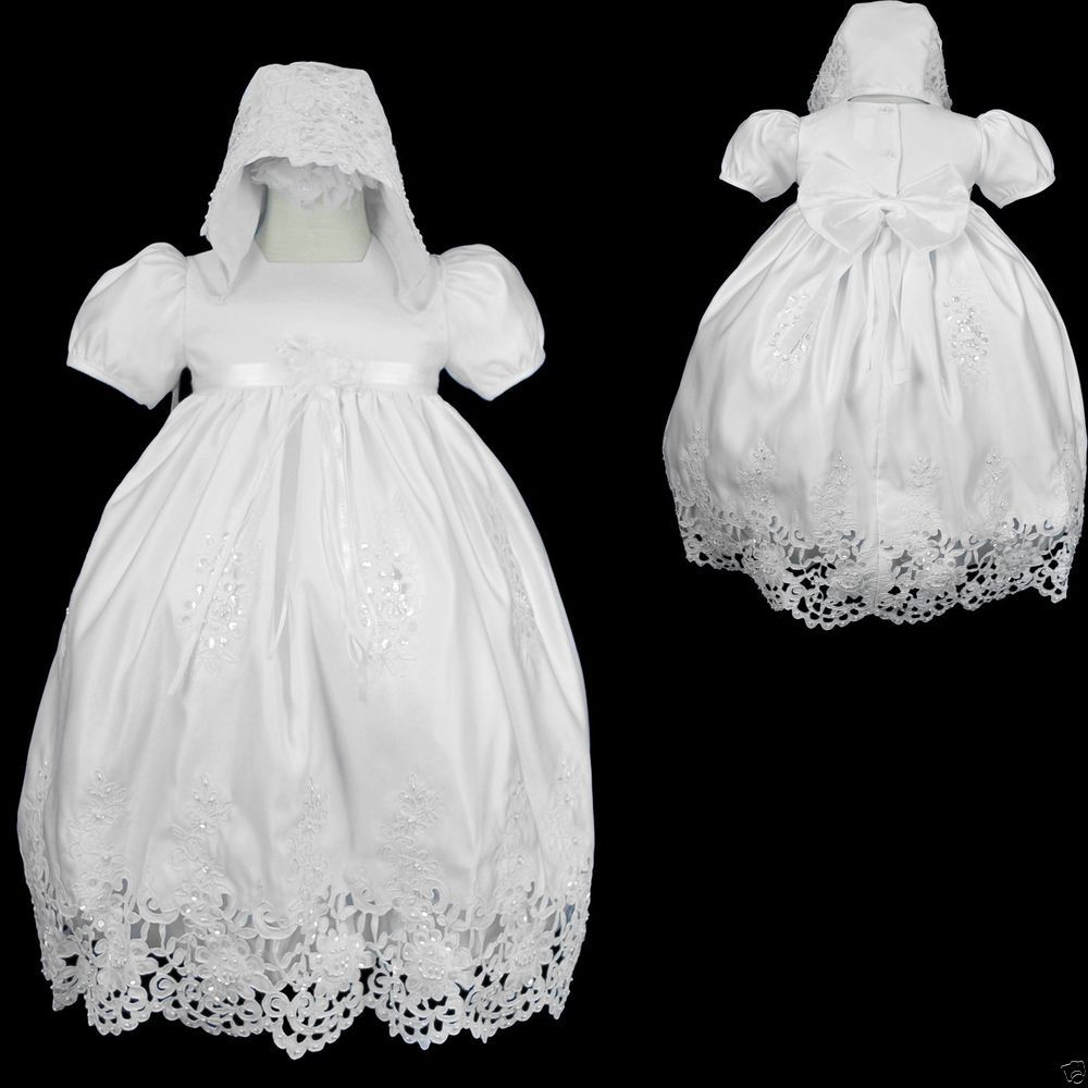 New Baby Infant Girl Toddler Christening Baptism Bonnet Formal Dress White 0-30M