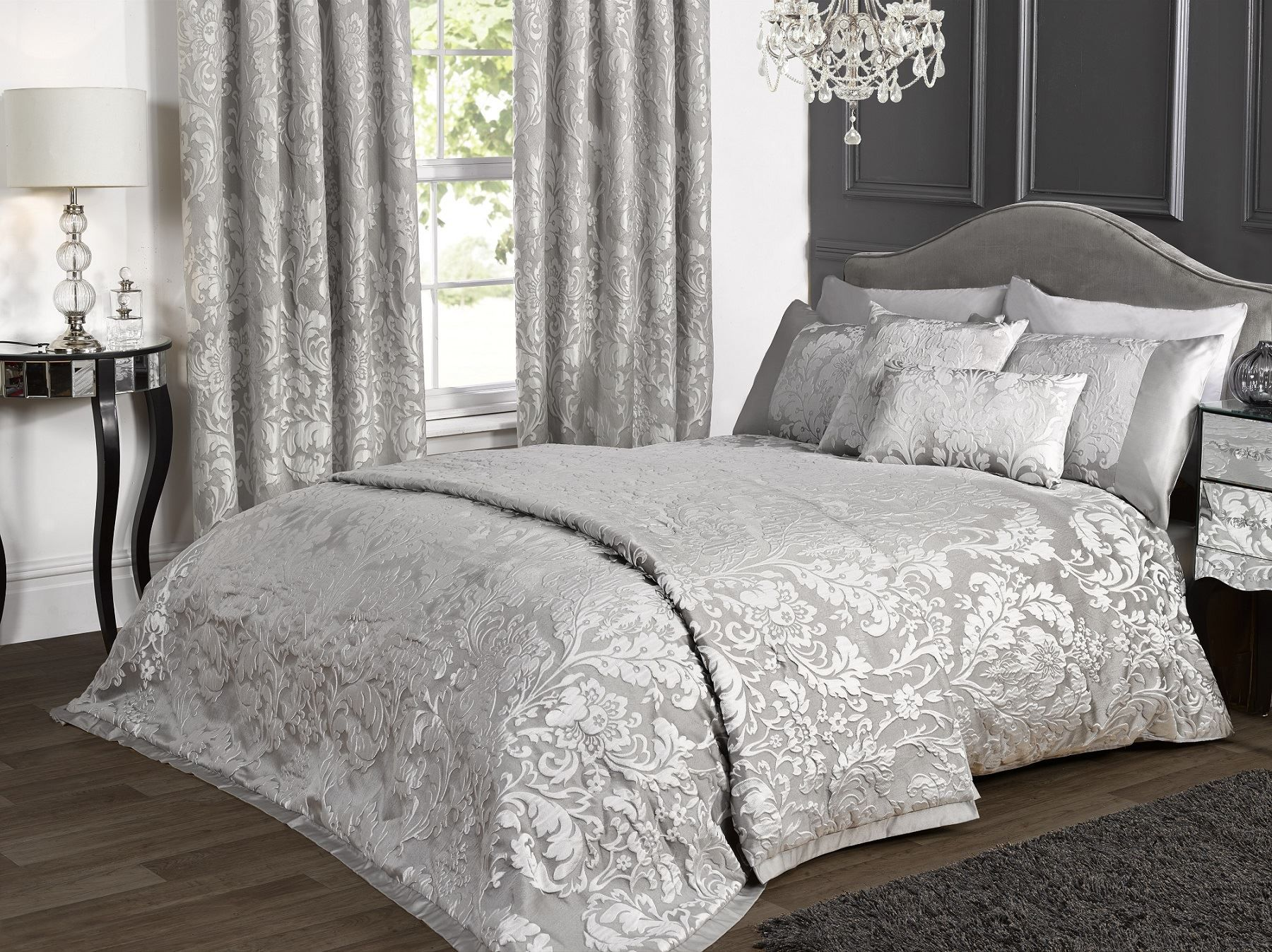 Black and white floral bed sheets - Details About Marston Damask Duvet Cover Embossed Floral Motif Silver Grey Quilt Bedding Set