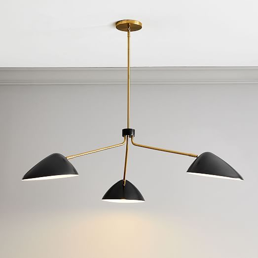 Curvilinear Mid Century Chandelier 3 Light Dark Bronze