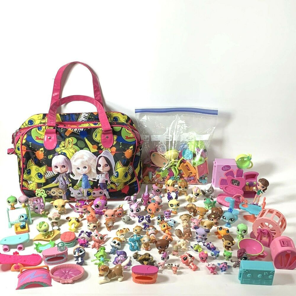 Huge Lot Of Littlest Pet Shop Includes 80 Pets Plus Bag And Accessories Hasbro Little Pets Pet Shop Selling On Ebay