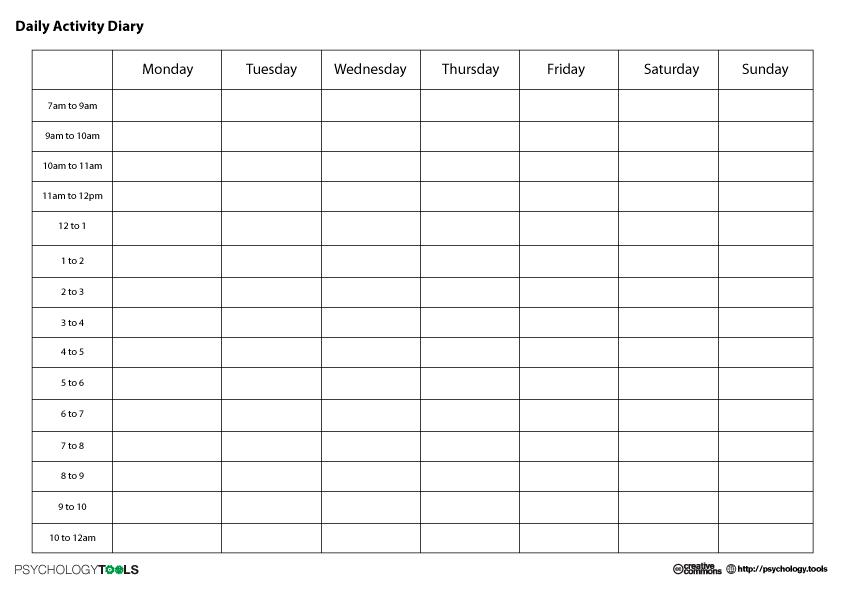 Cbt Daily Activity Diary