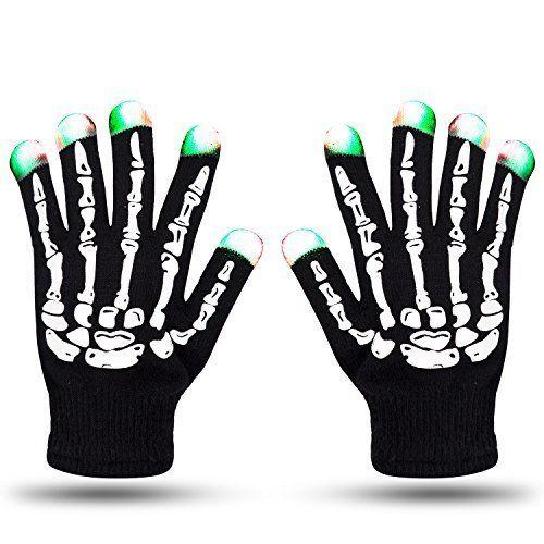 Led Skeleton Gloves Zoetouch Finger Lights 6 Modes Rave Gloves Party
