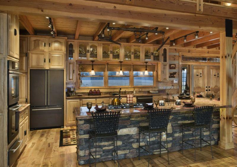 rustikale küche modern flair schwarz kuechentheke holzbalken ...
