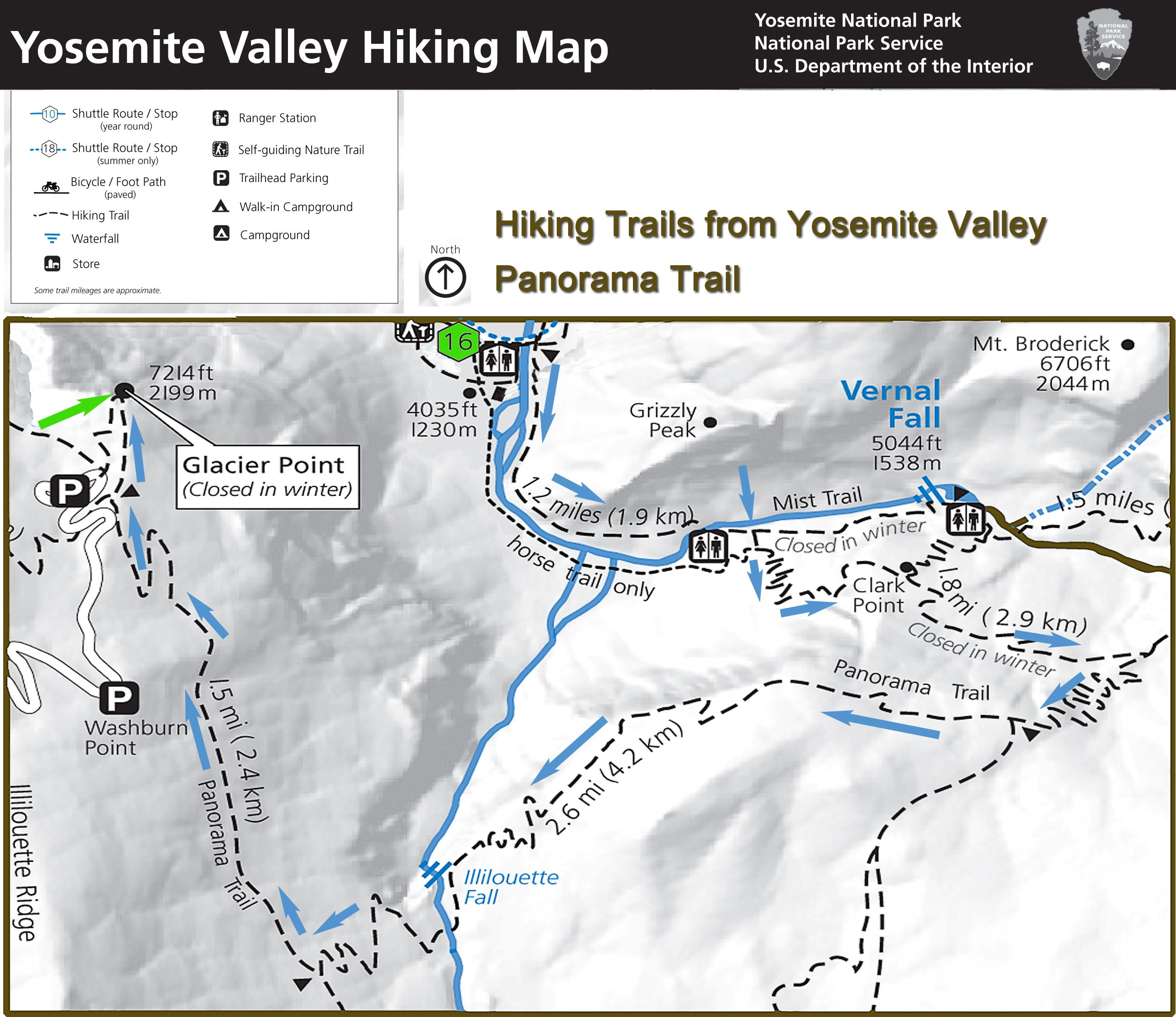 Yosemite Hiking Map Mirror Lake trail The trail starts in the