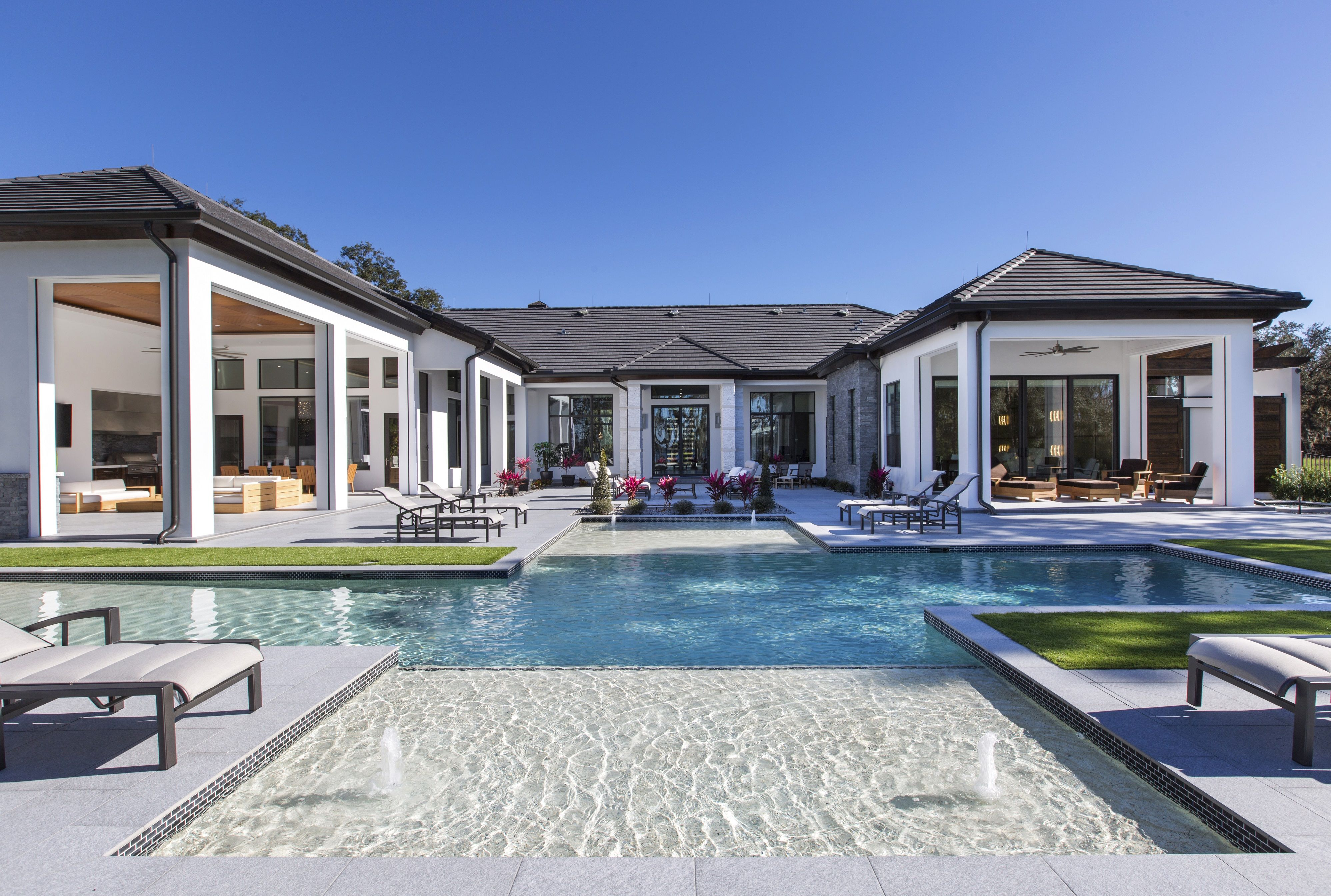 Modern Pool With Room On Your Back Patio To Host Gatherings Makes For Amazing Weekends In Florida Pool House Plans Dream House Exterior Modern Pools
