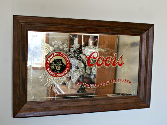 Coors Beer Mirror Barware Vintage Bar Decor Man Cave Decor Coors Light Wall Mirror Wood Frame Mirror Wood Framed Mirror Man Cave Decor Vintage Bar