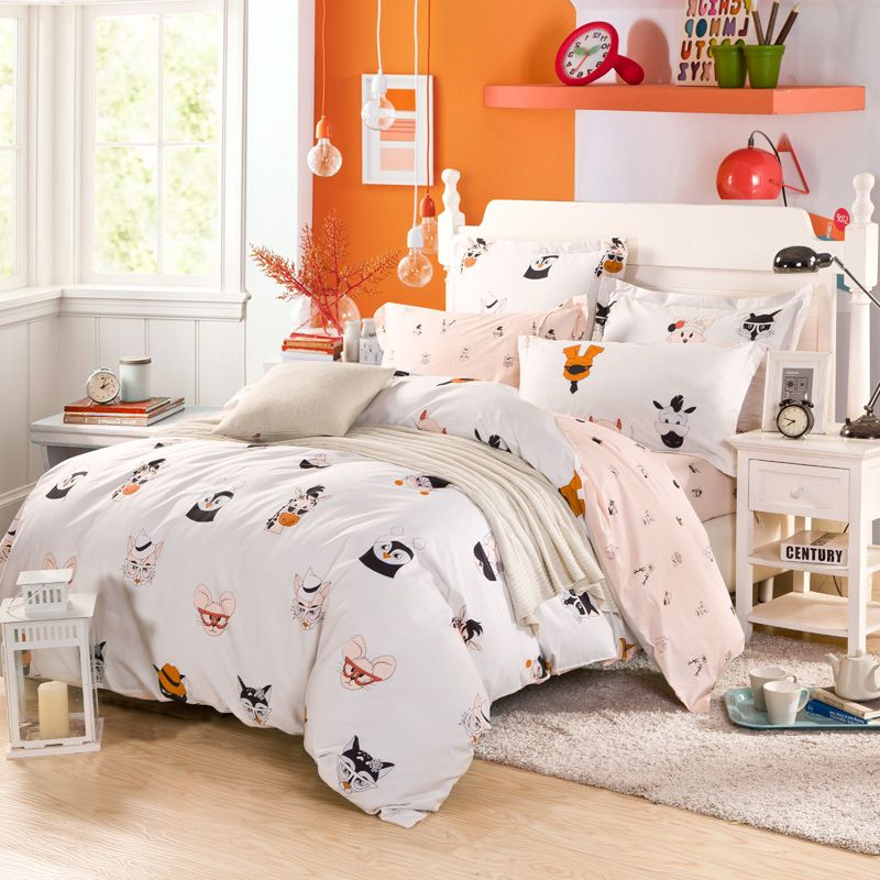 Animal print Duvet cover bedsheet pillowcase 100 Cotton Twin/single ...