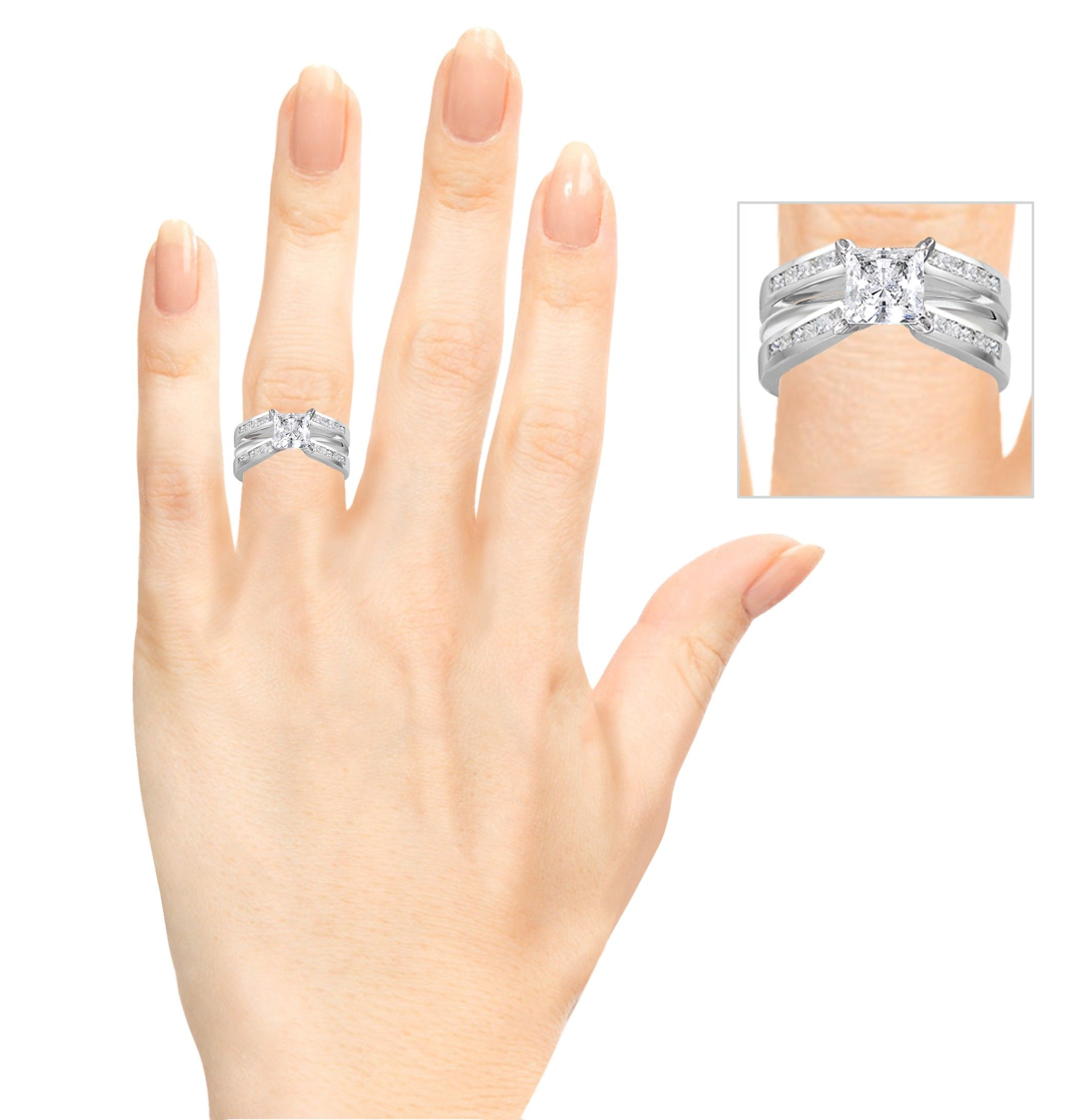 Cathedral Style Channel Set Princess Cut Ring Guard