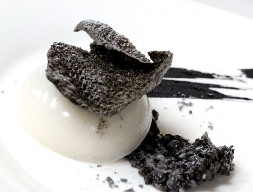 Chef Degeimbre's 'man-made' octopus egg shaped out of oven-baked and blended squid, water, and edible additives (Iota, Konjac) needed to achieve the desired texture