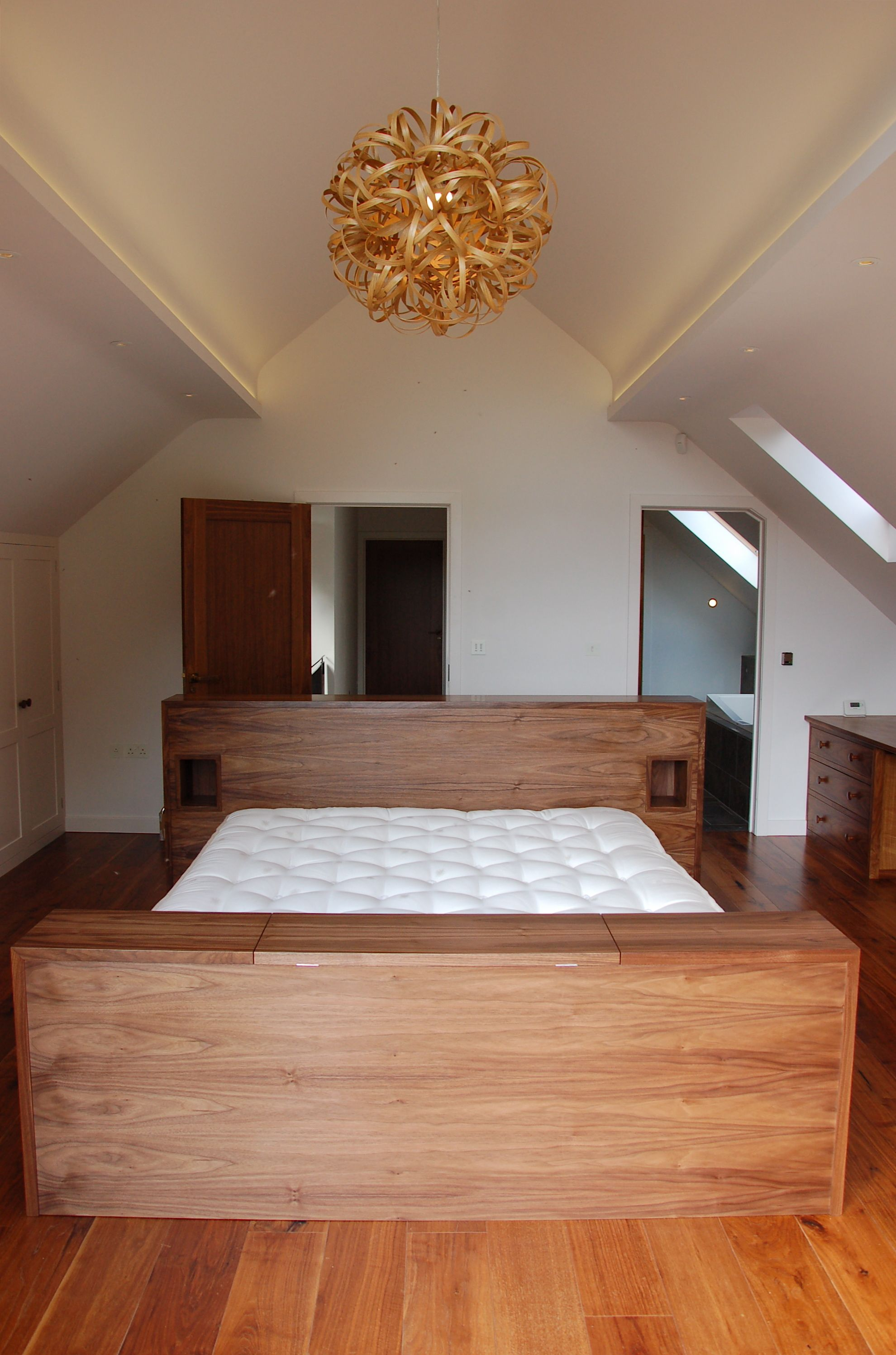 SQ1 Walnut bed, integrated remote TV lift & Tree