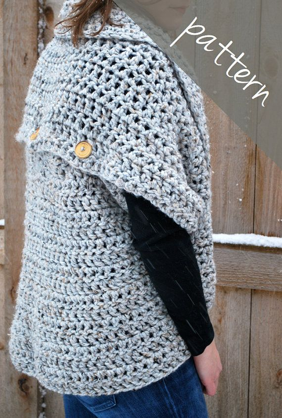 Crochet Pattern Oversized Cardigan Sweater Chunky Cowl Easy