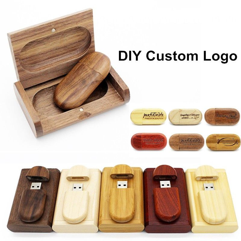 DIY Logo Wood USB Flash Drive USB 2.0 64MB to 64GB PMS ...