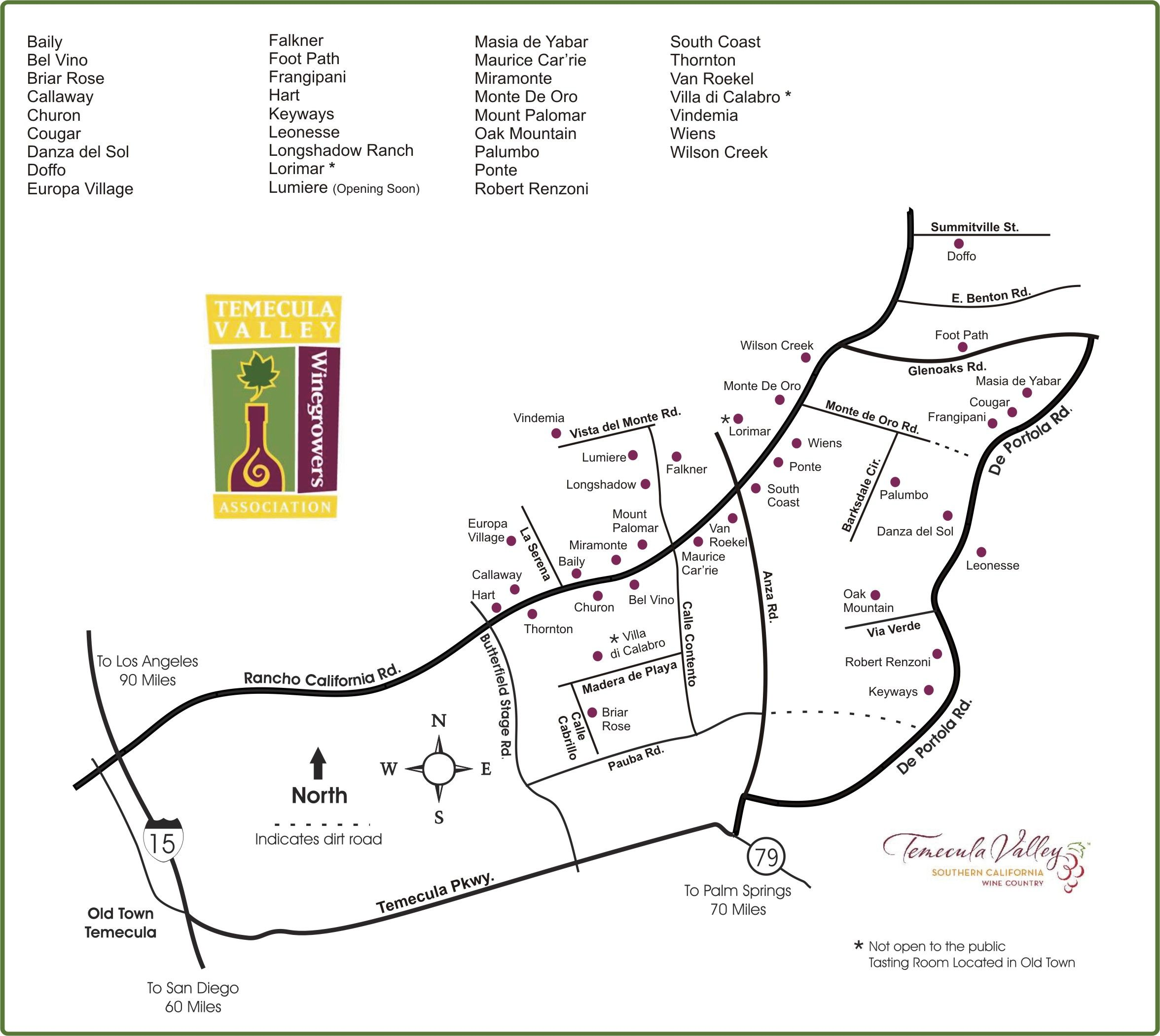 Map of Temecula Wine Country in Southern California Wine Country