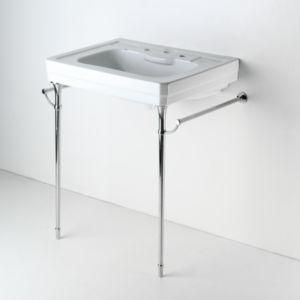 Vintage Porcelain Sink w/Chrome Legs & Towel Bars