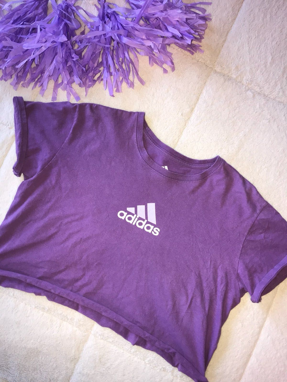 Purple Adidas Size L Cropped By Yours Truly Adidas Logo In Front Smoke Free Adidas Crop Top Adidas Crop Adidas [ 1600 x 1200 Pixel ]