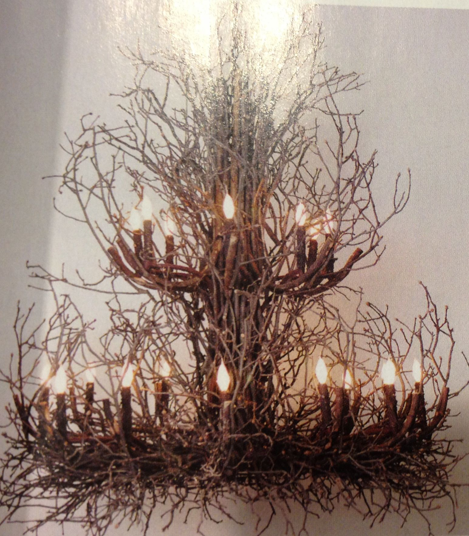 "Natural branch chandelier This is a 60"" D x 60"" H R E Phillips"