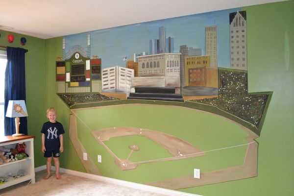 Large Baseball Stadium Wall Murals For Kids Playroom Choose A Your Home