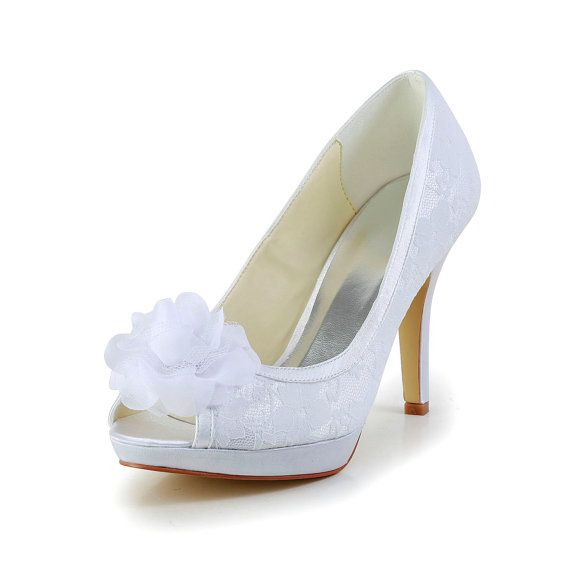 9716a7bf4d58 Beautiful Satin Stiletto Heel Peep Toe Pumps With Satin Flower Wedding Shoes(More  Colors) – GBP £