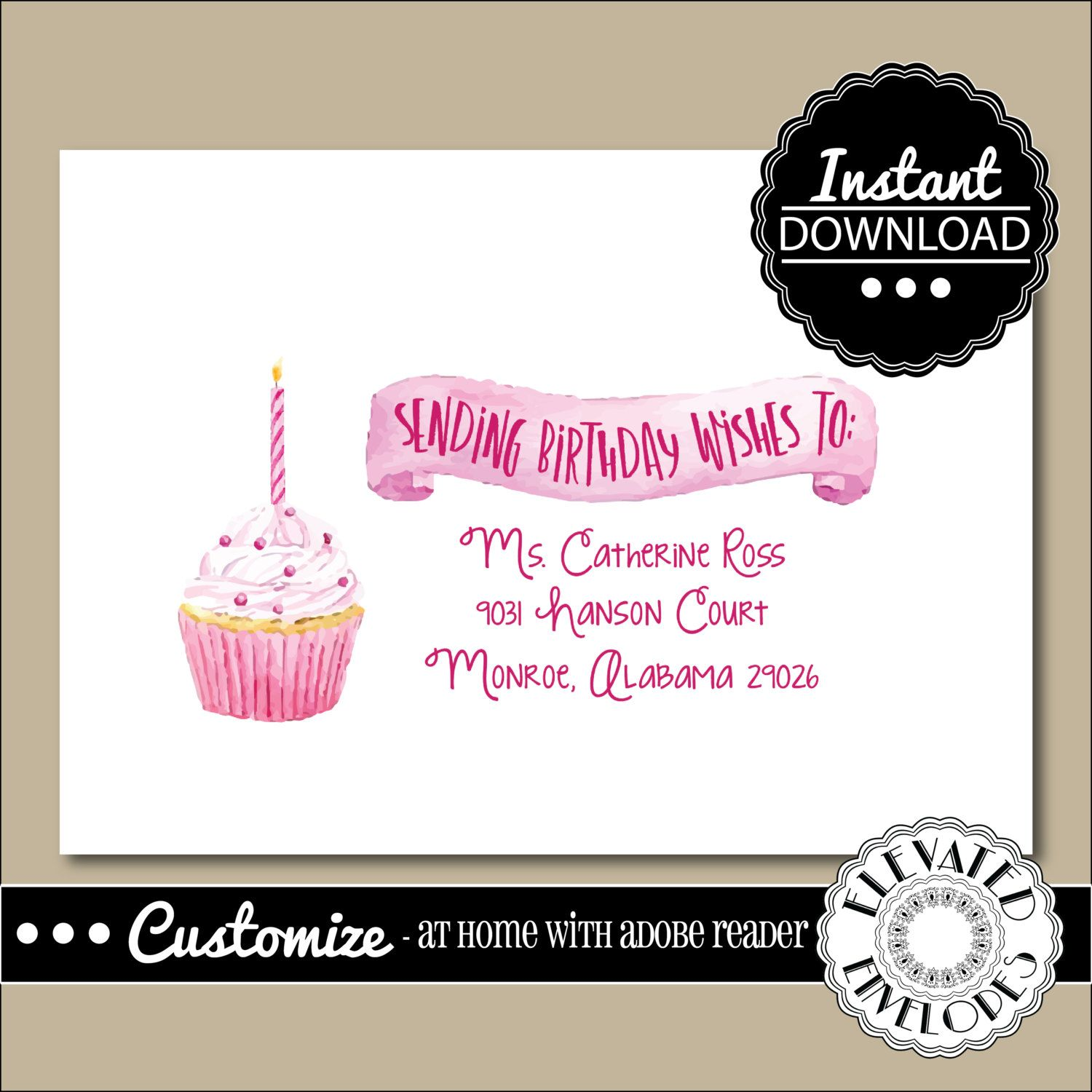 Editable birthday envelope templatebirthday envelope addressing editable birthday envelope templatebirthday envelope addressingbirthdaycupcakerecipient addressingenvelope addressinginstant download altavistaventures Choice Image