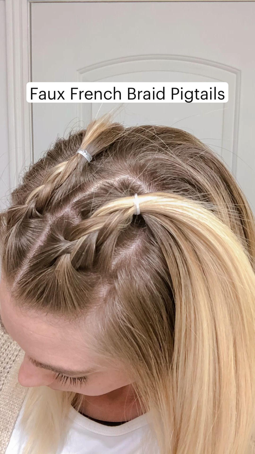 Faux French Braid Pigtails