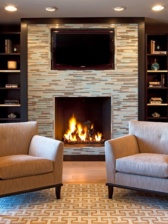 Spaces Mosaic Tile Fireplace Built Ins Design, Pictures, Remodel ...