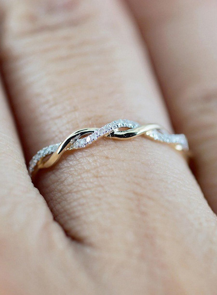a2719d24a73744 Simple Dainty Everyday Ring Fashion Jewelry for Teens Women's Stakable  Crystal Rose Gold Ring (www.Jewolite.com) #rings