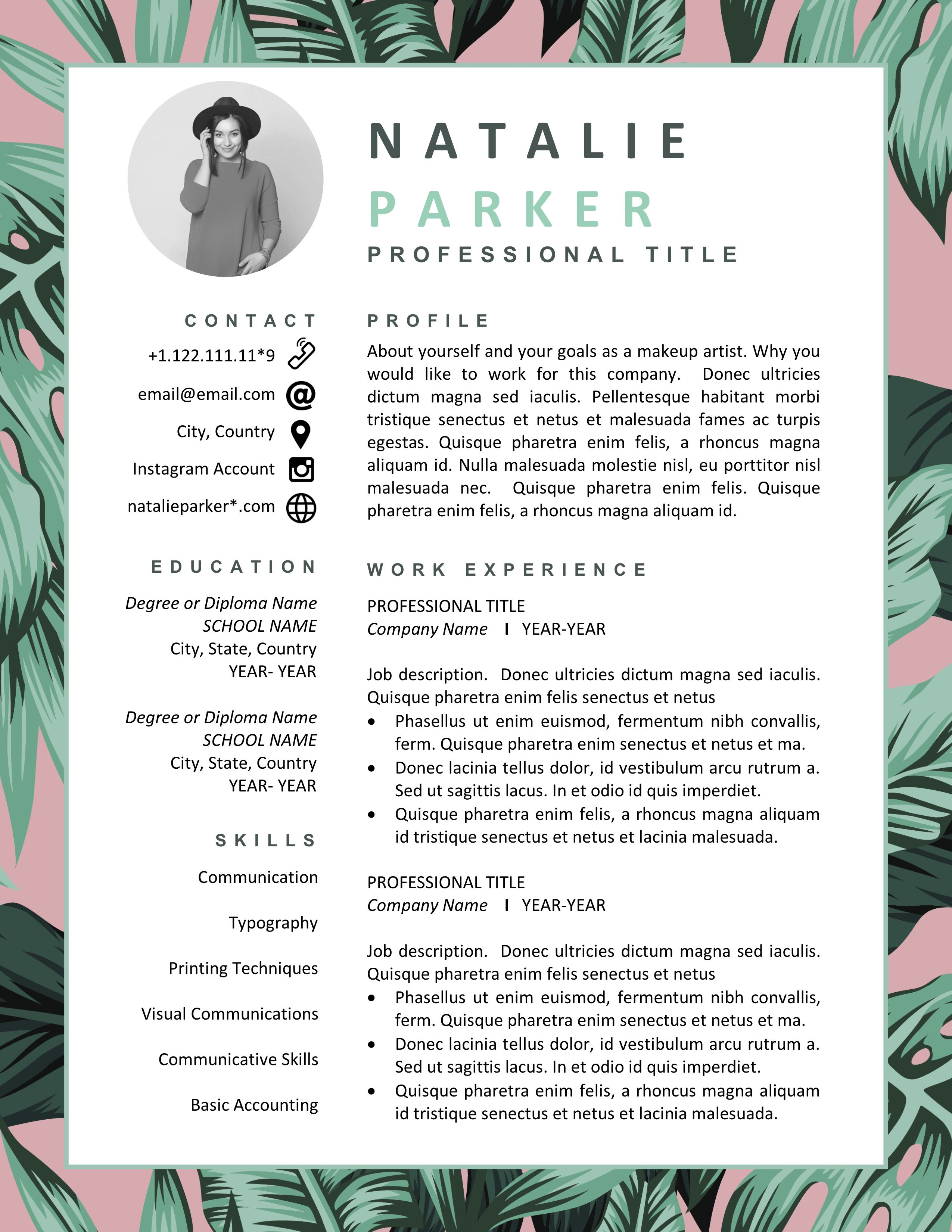 Creative Cv Template For Word Pages Floral Resume Templates Cover Letter Instant Download Resumes Best Cv For Stylist Blogger Artist Fashion Designer Resume Resume Design Creative Resume Design