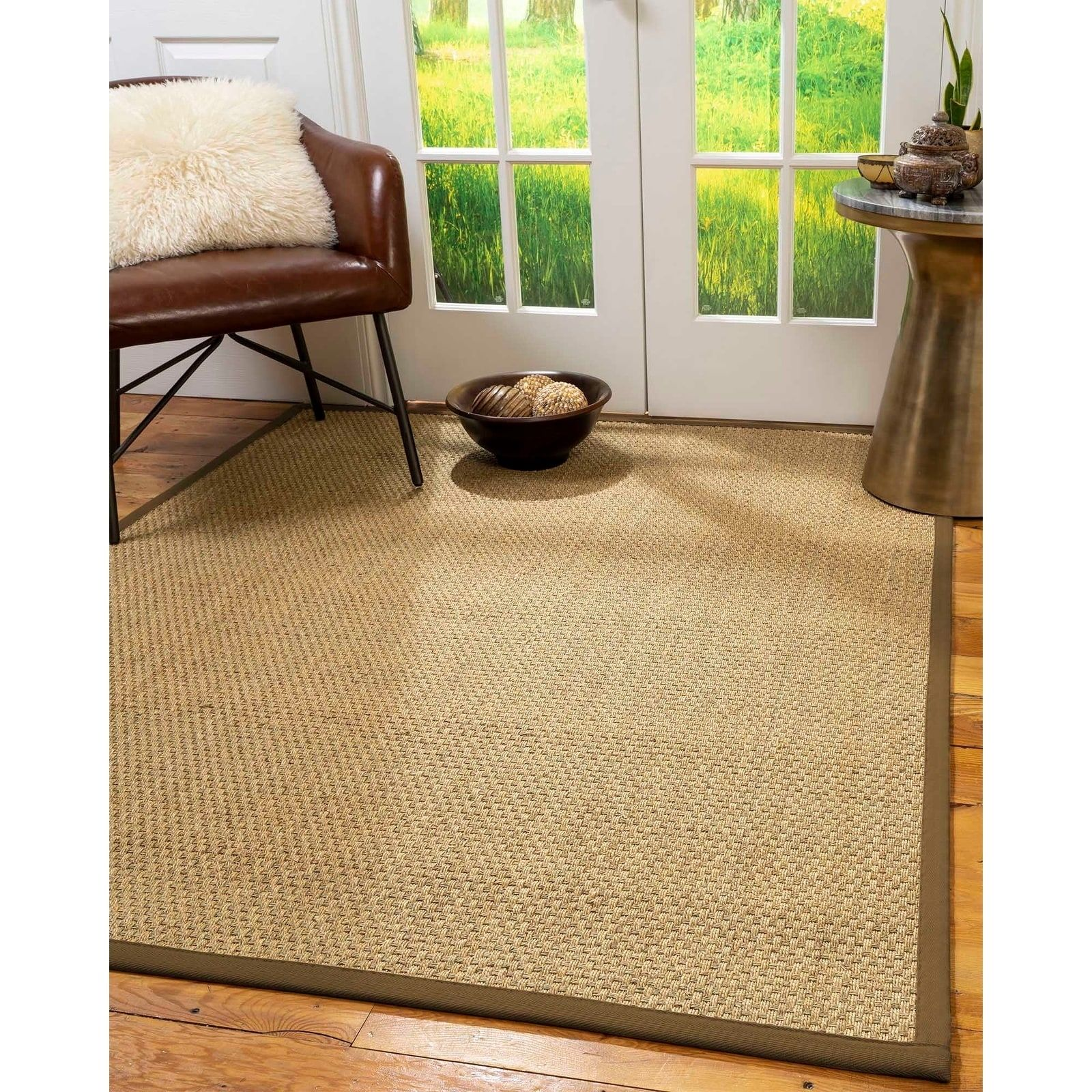 Natural Area Rugs 100 Natural Fiber Handmade Basket Weave Calabria Natural Seagrass Rug Malt Border 10 X 14 Ivor Natural Area Rugs Sisal Rug Area Rugs
