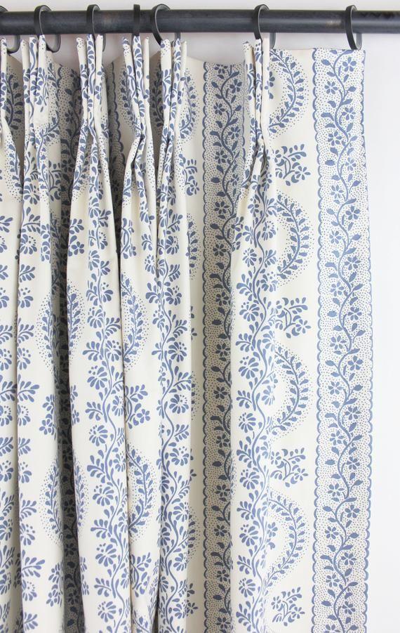 Sister Parish Dolly Custom Drapes shown in Blue-comes in | Etsy