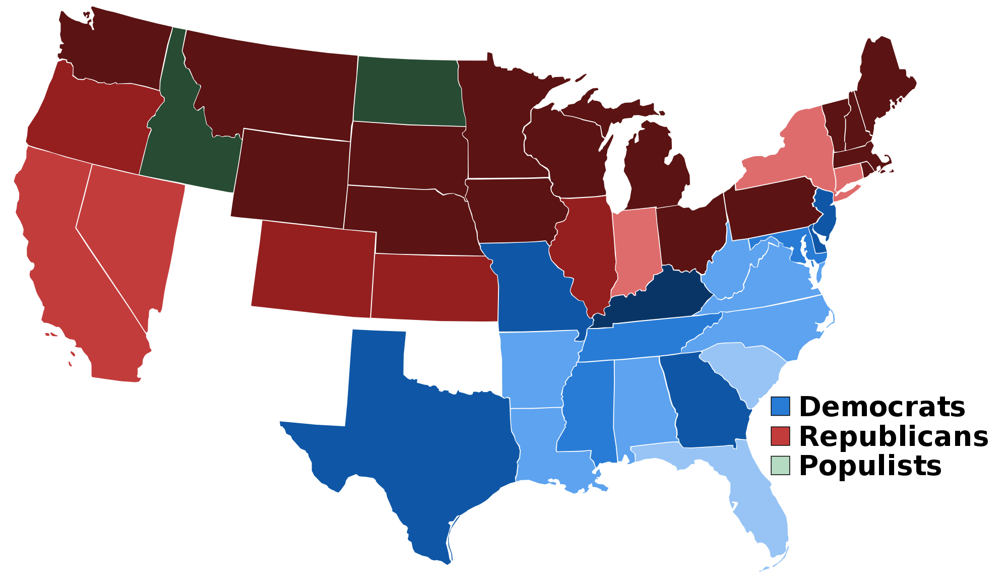 United States Presidential Election Results From 1856 To 1892 Maps - Us-election-results-state-map