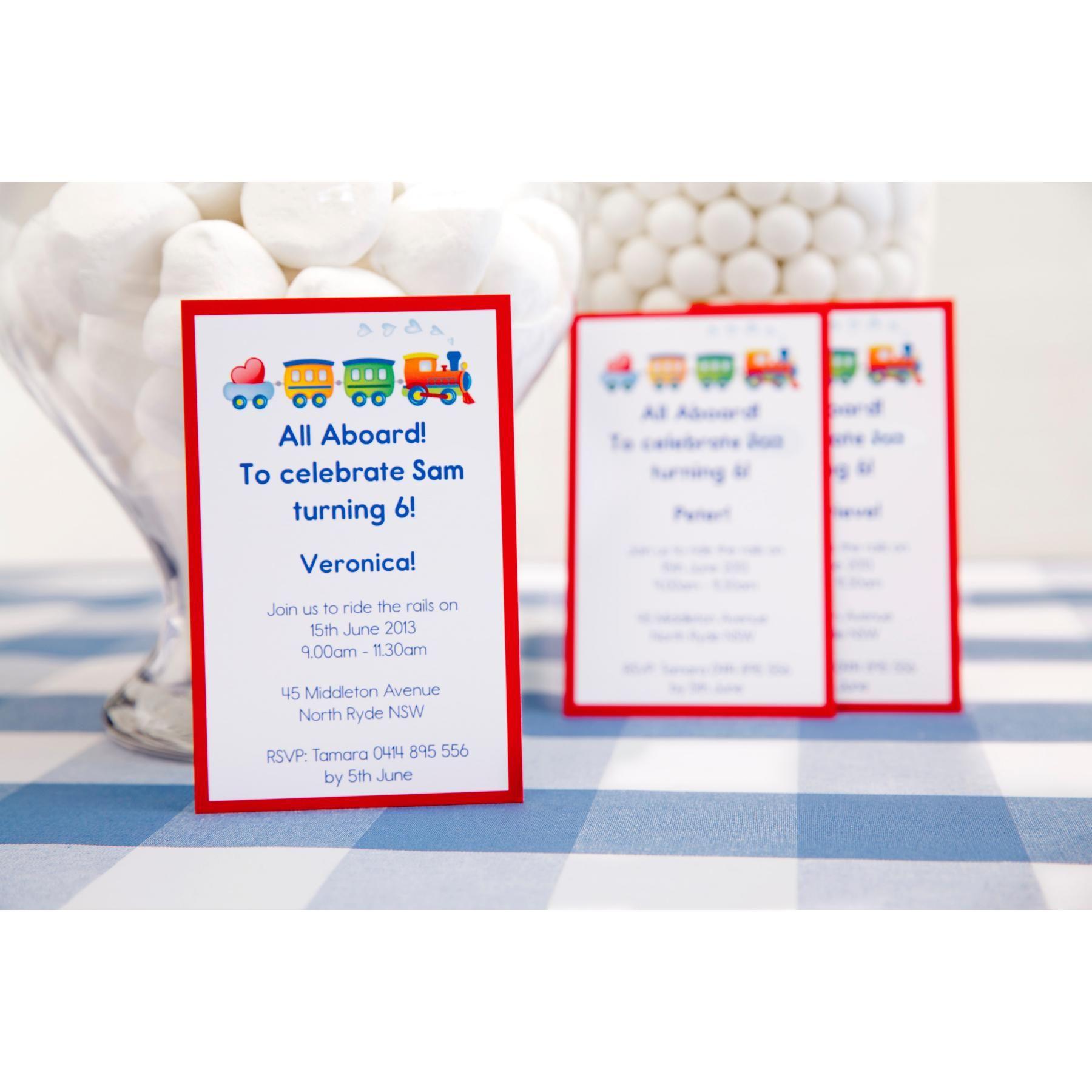train theme handmade children s birthday party invitations using