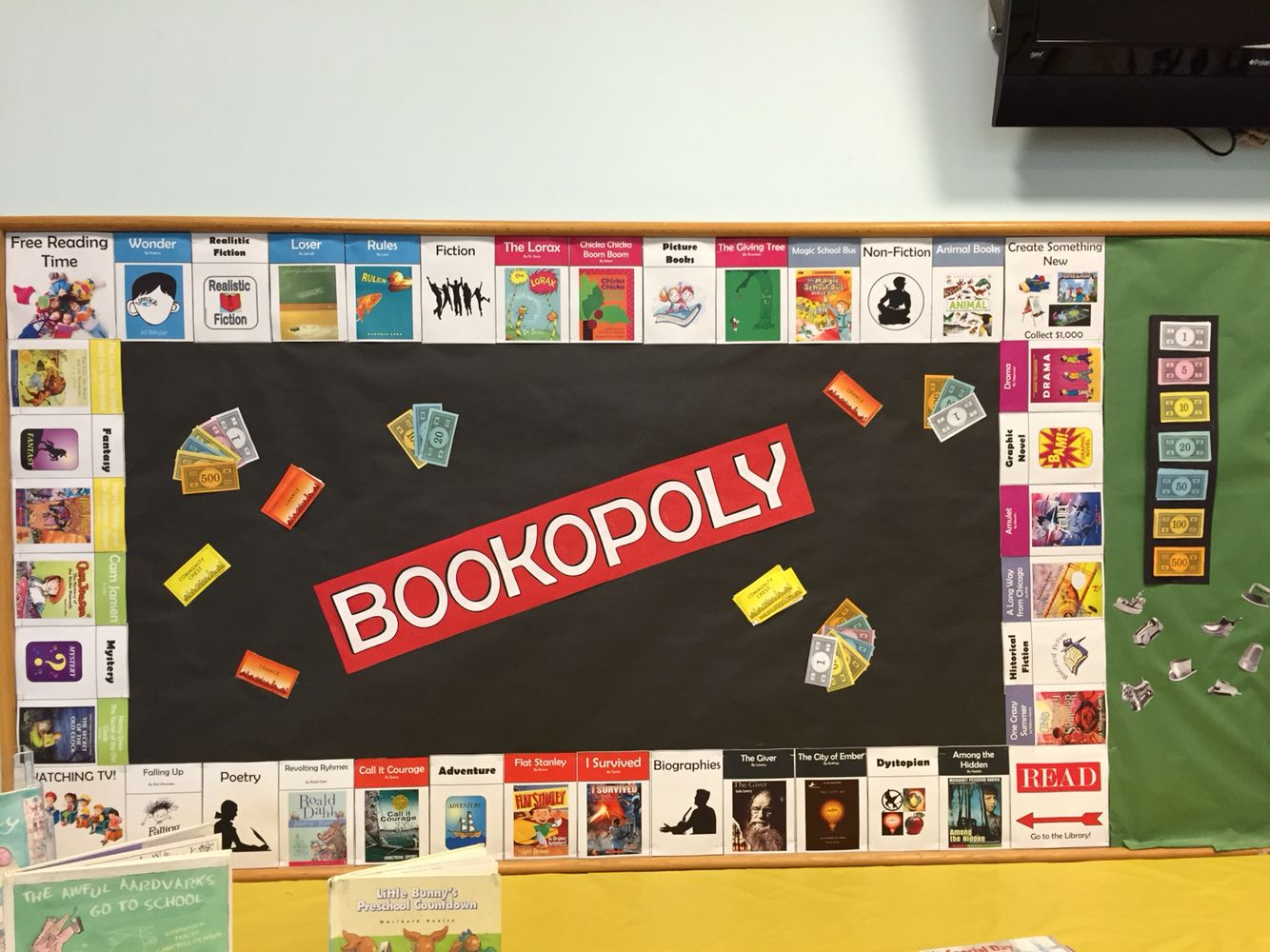 Classroom Game Ideas : Our sept bookopoly board bulletin boards and room