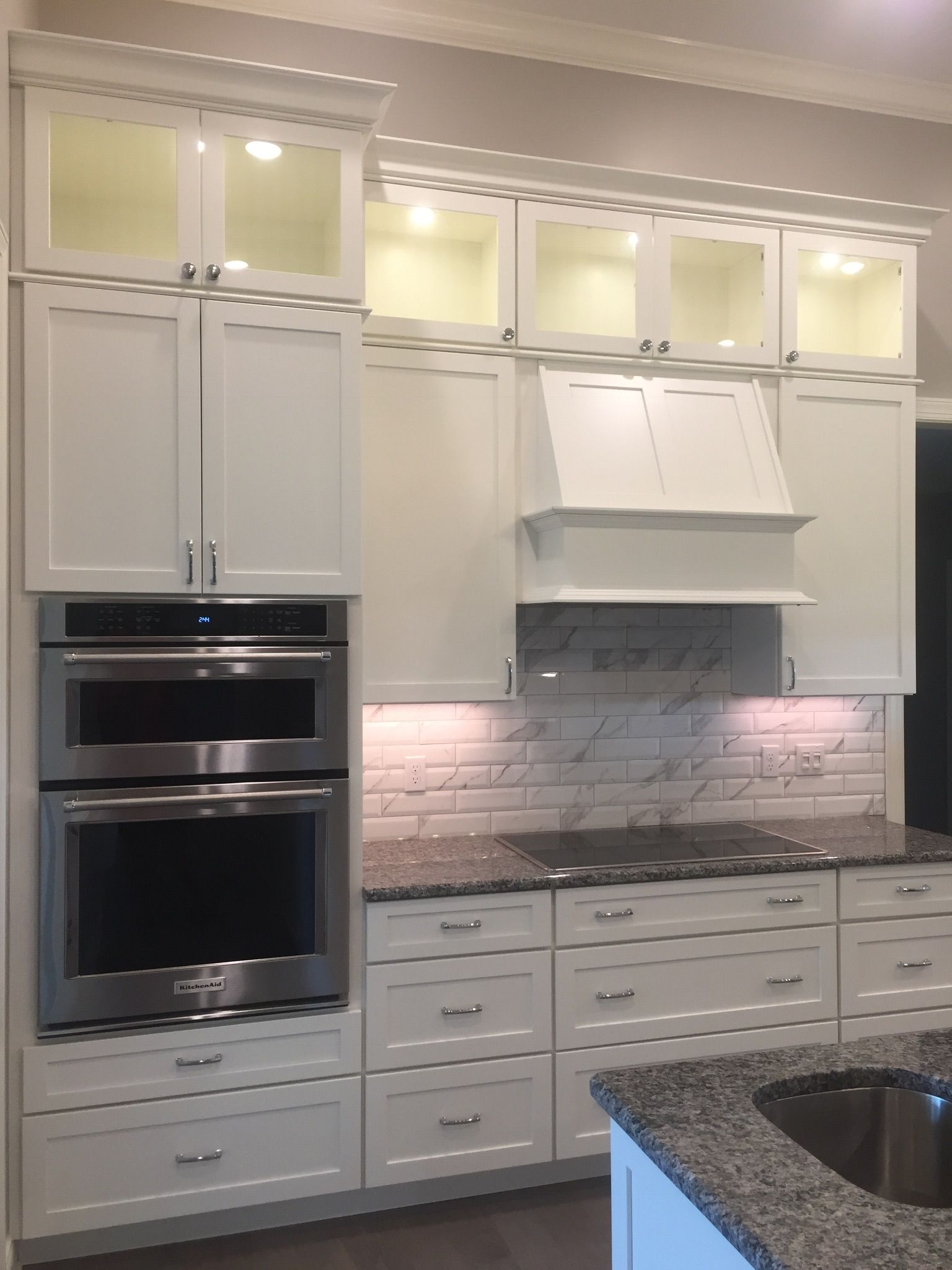 Potters Mill Style Wood Hood Stacked Cabinets With Glass Doors Medallion Cabinets Glass Cabinet Doors Beach Kitchens