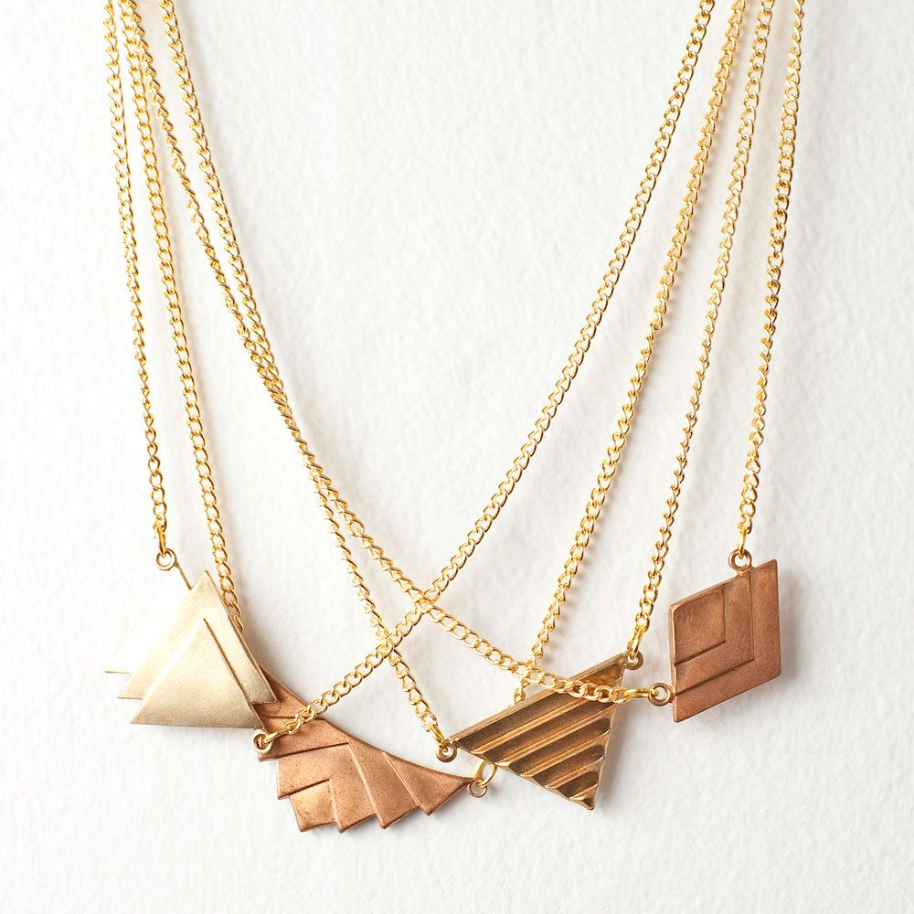 Geometric Charm Necklace - You Choose Charm 1 or 3. $15,00, via Etsy.