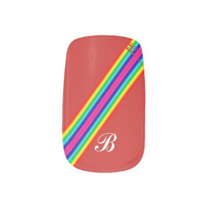 Initial Rainbow Red Yellow Pink Template Stripes Minx Nail Wraps - rainbow template