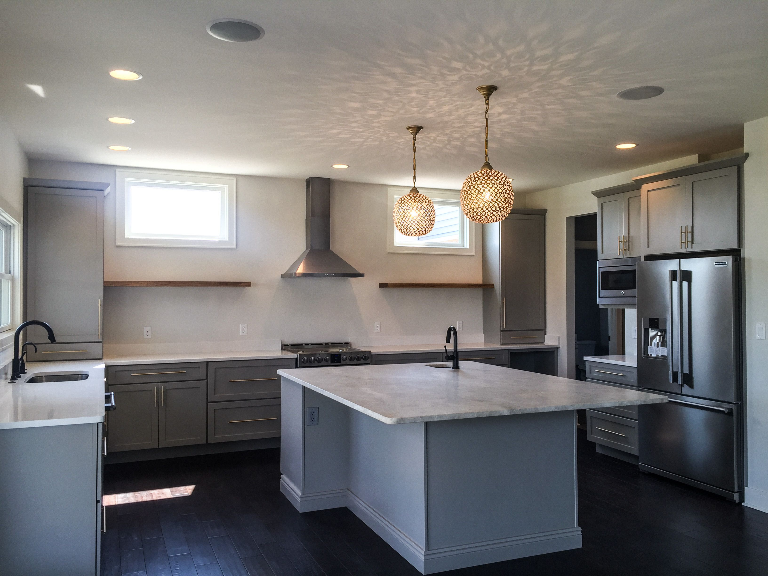 Love This Style | Gray Cabinets with Brass | Floating ...