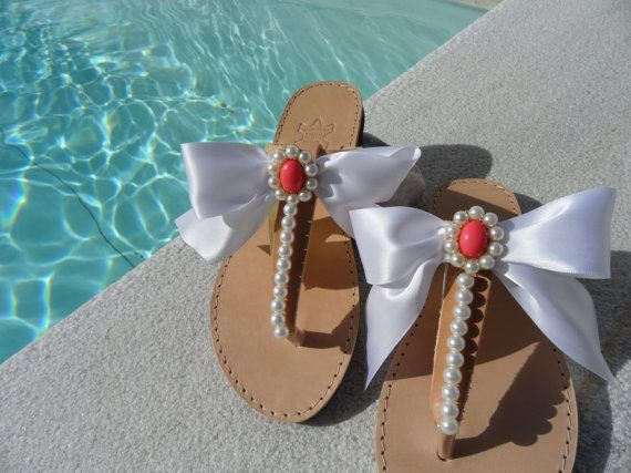White satin bow Leather sandals  Decorated sandals by marizasShop