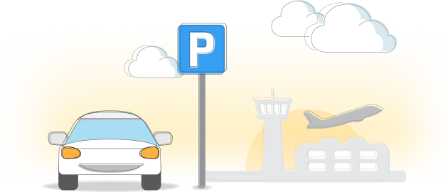 Icon Of A Car Parking In An Airport With A Plane Taking Off In The Background Luton Airport Parking Reliable Cars