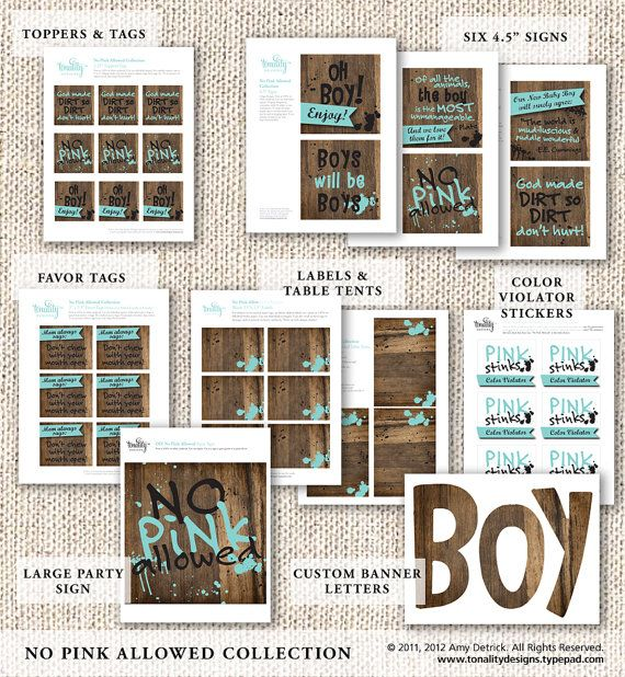 no pink allowed baby shower is perfect for emphasizing that boy gear