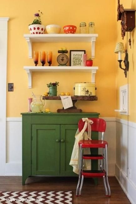 Small Kitchen Designs In Yellow And Green Colors Accentuated