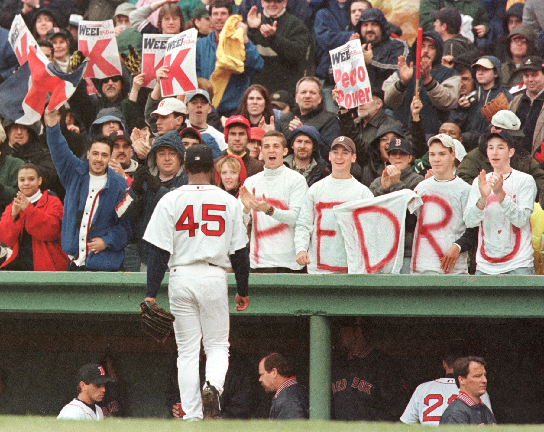 Pedro Martinez was cheered by fans as he walked back to the dugout after  striking out the side against the Tampa Bay Devil Rays at Fenway Park on  April 8, ...
