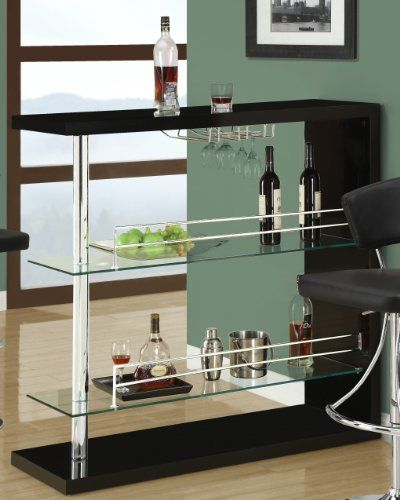 Coaster Bar Table With Two Glass Shelves In Gloss Black Finish Coaster Home  Furnishings Http:
