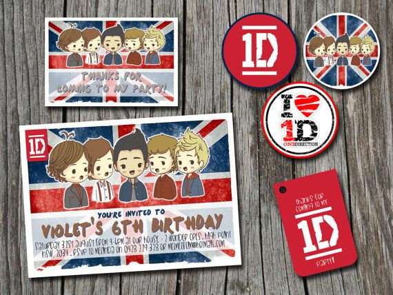 Birthday Invitation One Direction 1d Party Pack Invitation Thank