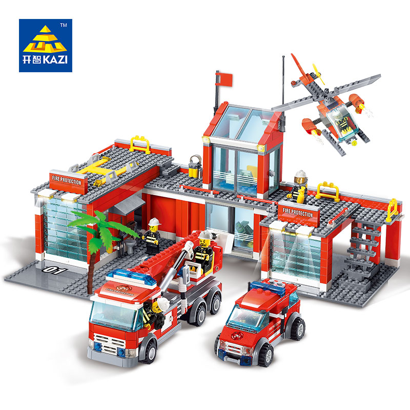 4in1 Fire Station Model Building Blocks set with Fireman Mini Figures Toys Brick
