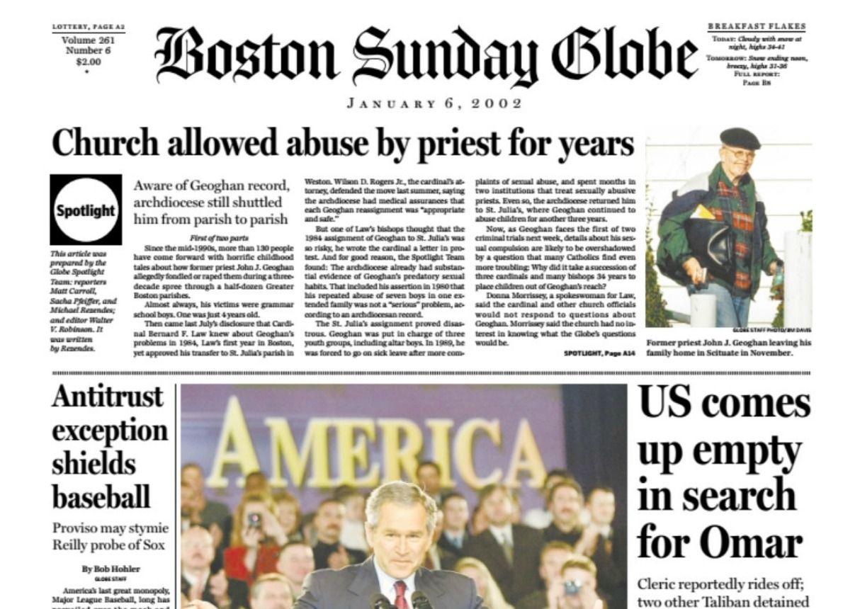 Boston Globe Spotlightual Abuse Scandal