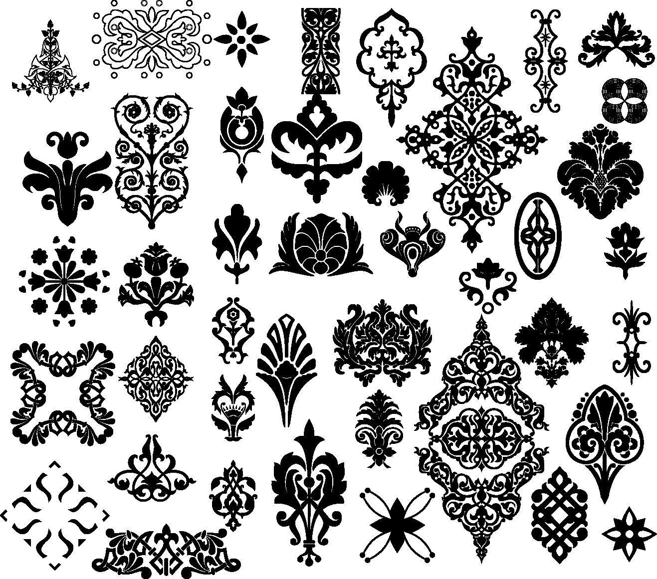 Floral Border Pattern Flowers Vector Vintage Ornamental Design Corner Elements Download PNG Instant Transparent Background Clipart