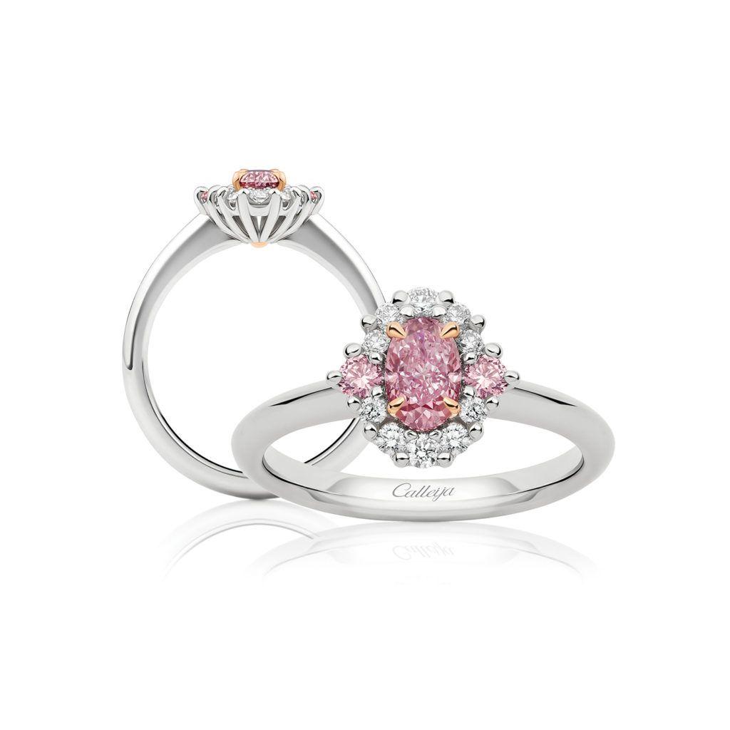 eab9e28e06c47 White and Oval Argyle Pink Diamond Ring | Calleija Engagement ...